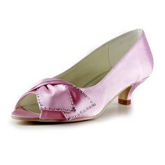 Women's Satin Low Heel Peep Toe Sandals With Bowknot Rhinestone