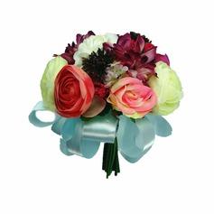 Jolie Attaché à la main /Rond Satin Bouquets de Demoiselle D'honneur