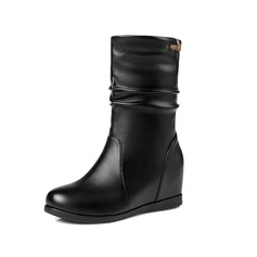 Women's Real Leather Wedge Heel Mid-Calf Boots shoes