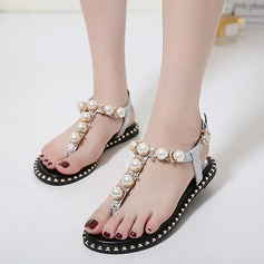 Women's Leatherette Flat Heel Flats Sandals Beach Wedding Shoes With Imitation Pearl