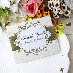Personalized Flower Design Paper Thank You Cards (Set of 50)