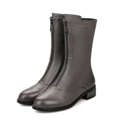Women's Leatherette Flat Heel Mid-Calf Boots With Zipper shoes