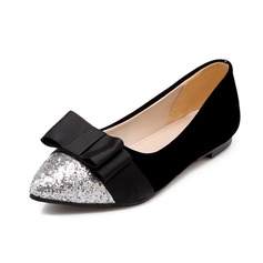 Suède Pailletes scintillantes Talon plat Chaussures plates Bout fermé avec Un nœud chaussures
