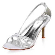 Women's Satin Stiletto Heel Sandals With Buckle Rhinestone