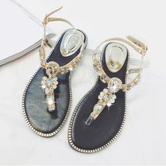 Women's Leatherette Flat Heel Peep Toe Sandals Slingbacks Beach Wedding Shoes With Rhinestone
