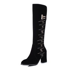 Women's Suede Chunky Heel Mid-Calf Boots With Buckle Zipper shoes