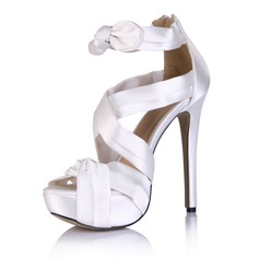 Silk Like Satin Stiletto Heel Sandals Platform Peep Toe With Bowknot Ruched shoes