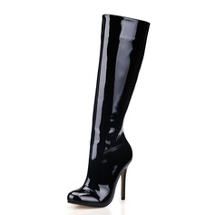 Patent Leather Stiletto Heel Closed Toe Knee High Boots shoes