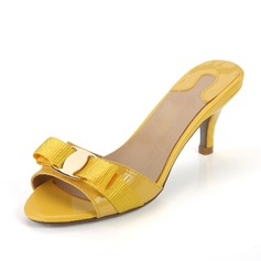 Patent Leather Low Heel Sandals Slippers With Bowknot shoes