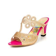 Women's Leatherette Chunky Heel Sandals Slingbacks With Rhinestone shoes