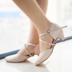 Women's Satin Heels Pumps Ballroom Dance Shoes