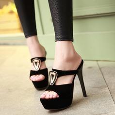 Women's Suede Stiletto Heel Sandals Pumps Peep Toe With Sequin shoes