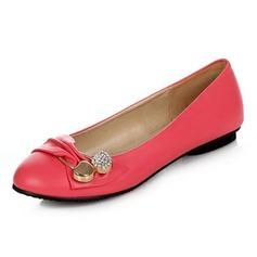 Leatherette Flat Heel Flats Closed Toe With Rhinestone Buckle shoes