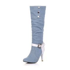 Women's Cloth Stiletto Heel Closed Toe Mid-Calf Boots shoes
