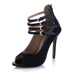Suede Patent Leather Stiletto Heel Peep Toe Sandals With Buckle Zipper