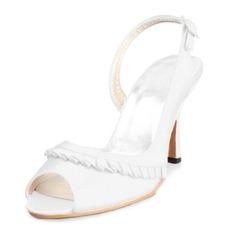 Women's Satin Stiletto Heel Peep Toe Sandals With Buckle Ruffles