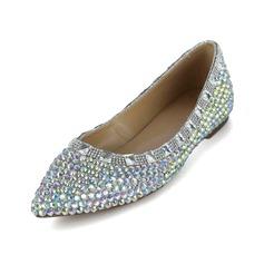 Piel brillante Tacón plano Cerrados con Rhinestone zapatos