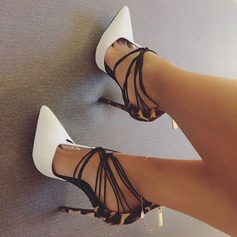 Women's Leatherette Stiletto Heel Sandals Pumps Closed Toe With Lace-up shoes