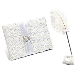Lovely Rose Rhinestones/Bow/Flower Guestbook & Pen Set