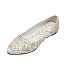 Similicuir Talon plat Chaussures plates Bout fermé avec Emperler chaussures