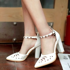 Women's Patent Leather Chunky Heel Sandals Pumps Closed Toe With Rivet Hollow-out shoes