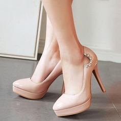 Women's Leatherette Stiletto Heel Pumps Platform Closed Toe With Rhinestone shoes