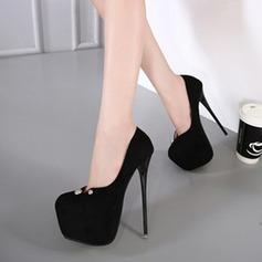 Women's Suede Stiletto Heel Pumps Closed Toe With Rivet shoes