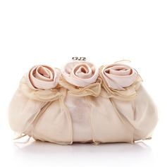 Gorgeous Silk/Tulle With Flower Clutches