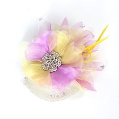 Magnifique Fil net et fleur en soie/Plume Fleurs