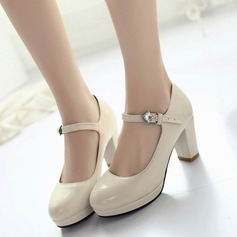 Women's Leatherette Flat Heel Pumps Closed Toe With Rhinestone Buckle shoes