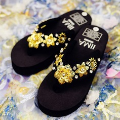 Women's Cloth Flat Heel Platform Flip-Flops Slippers With Rhinestone Imitation Pearl Flower shoes