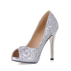 Women's Sparkling Glitter Stiletto Heel Peep Toe Platform Sandals With Sequin