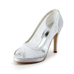 Women's Lace Satin Cone Heel Peep Toe Platform Sandals