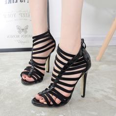 Women's Leatherette Stiletto Heel Pumps Peep Toe With Zipper Hollow-out shoes
