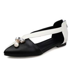 Women's Leatherette Flat Heel Flats Closed Toe With Rhinestone Imitation Pearl shoes