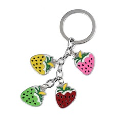 Schöne Erdbeer Entwurf Chrom Schlüsselanhänger