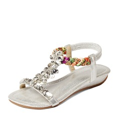 Women's Leatherette Wedge Heel Sandals Beach Wedding Shoes With Buckle Rhinestone