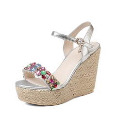 Women's Real Leather Microfiber Leather Wedge Heel Sandals Wedges Beach Wedding Shoes With Buckle Rhinestone
