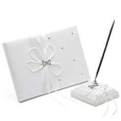Beautiful Ribbons/Rhinestones/Sash Guestbook & Pen Set