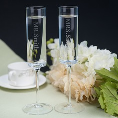 Personalized Simple Design Glass Toasting Flutes (Set Of 2)