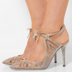 Women's Suede Stiletto Heel Sandals Pumps Closed Toe With Rhinestone Lace-up shoes