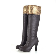 Women's Leatherette Stiletto Heel Pumps Platform Knee High Boots With Animal Print shoes