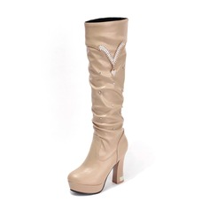 Women's Leatherette Chunky Heel Platform Mid-Calf Boots shoes