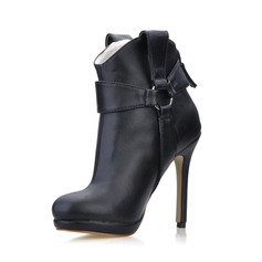 Leatherette Stiletto Heel Closed Toe Platform Ankle Boots With Buckle